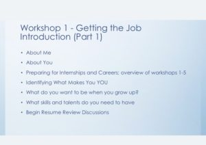 Workshop 1 Getting the Job Part 1 Slide